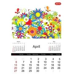 Floral calendar 2014 april vector