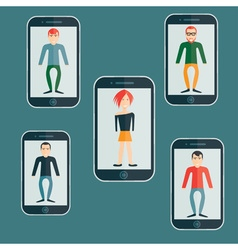 four guys and girl flat design smartphone vector image