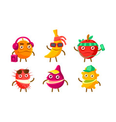 funny exotic fruit characters set orange banana vector image