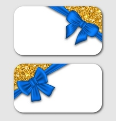 Gift Cards with Blue Bow Ribbon and Golden Surface vector image