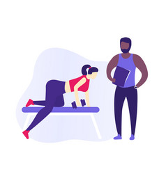 girl training back in gym with personal trainer vector image