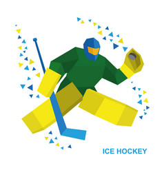 Goalkeeper with hockey stick catches the puck vector
