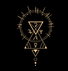 Golden geometric esoteric composition with magic vector