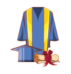 Gown with certificate and hat graduation vector