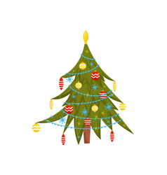 green pine tree decorated with garland toys and vector image