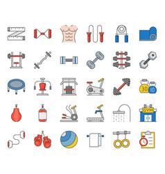 gym equipment and fitness icon vector image