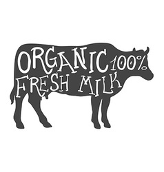 Hand Drawn Farm Animal Cow Organic Fresh Milk vector