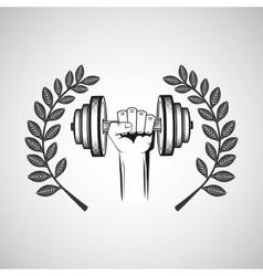 hand hold dummbell sport emblem laurel branch vector image