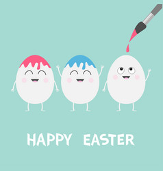 happy easter three egg painting brush smiling vector image