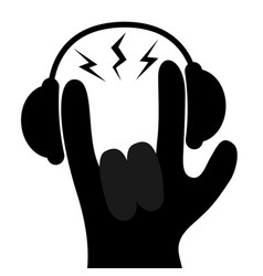 Headphones lightning light rockroll hand finger vector