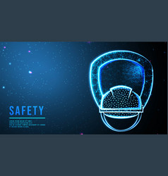 Helmet construction and shield security concept vector