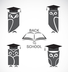 image an owl with college hat and book vector image