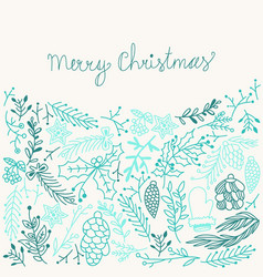 inscription merry christmas blue composition vector image