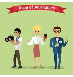 Journalists Team People Group Flat Style vector