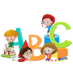 Kids and english alphabets vector