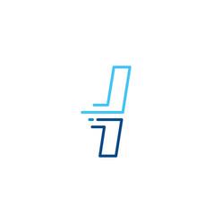 L letter dash lowercase tech digital fast quick vector