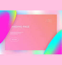 Landing page with liquid dynamic elements and vector