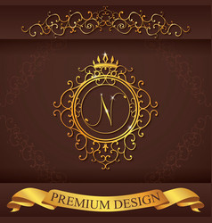 Letter N Luxury Logo template flourishes vector