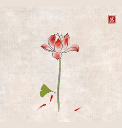 lotus flower gingko leaf and three little red vector image