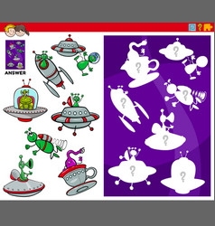 Matching shapes game with cartoon alien characters vector