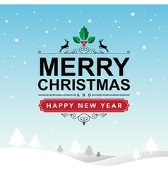 Merry Christmas and Happy New Year typographic vector image