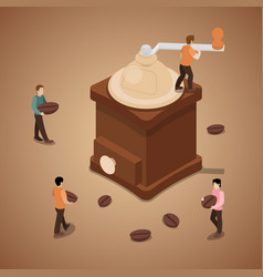 miniature people grinding coffee beans in machine vector image