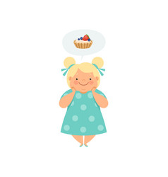 Overweight blonde girl dreaming of cupcake cute vector