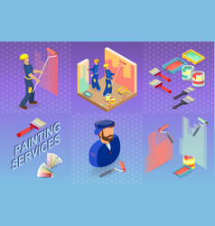 Painting services isometric building concept vector