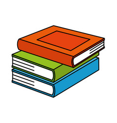 pile text books isolated icon vector image