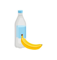 plastic bottle of mineral bottle and fresh banana vector image