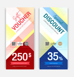 Portrait colorful and modern discount voucher or vector