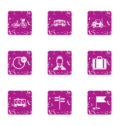 Punctual delivery icons set grunge style vector