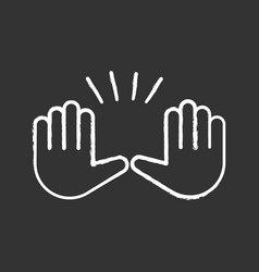 raising hands gesture chalk icon vector image