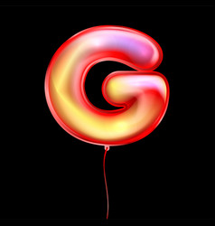 Red metallic balloon inflated alphabet symbol g vector