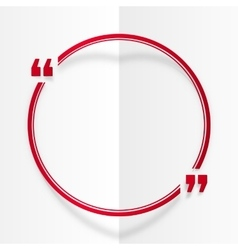 Red round quote frame at white folded paper vector