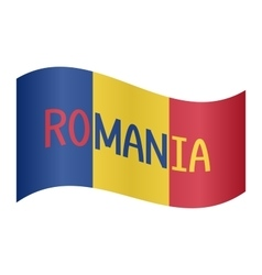 Romanian flag waving with word romania on white vector