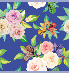 roses flowers seamless blue background vector image