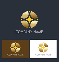Round abstract geometry gold business logo vector