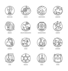 science and technology line icons set vector image
