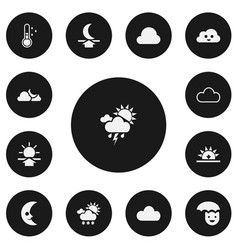 Set of 13 editable weather icons includes symbols vector