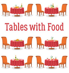 Set of tables with food vector