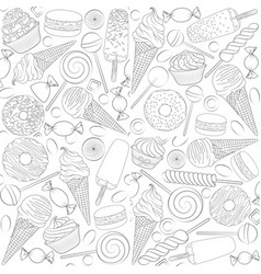 set seamless patterns with sweets vector image