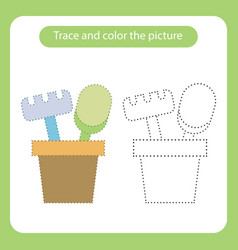 shovel and rake in a bucket toy with simple vector image