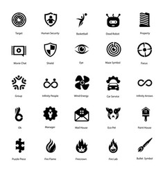 Sign and imprints glyph pack vector