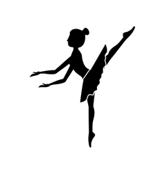 Silhouette dancer pose fifth arabesque vector