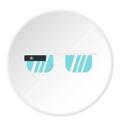 Smart glasses icon circle vector