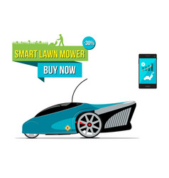 Smart lawn mover sale banner vector