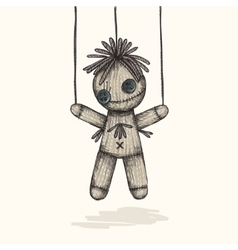 Spooky Voodoo Doll In A Sketch Style vector