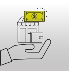 Store online wallet money icon vector