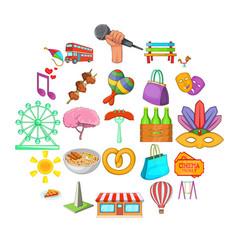 street celebration icons set cartoon style vector image